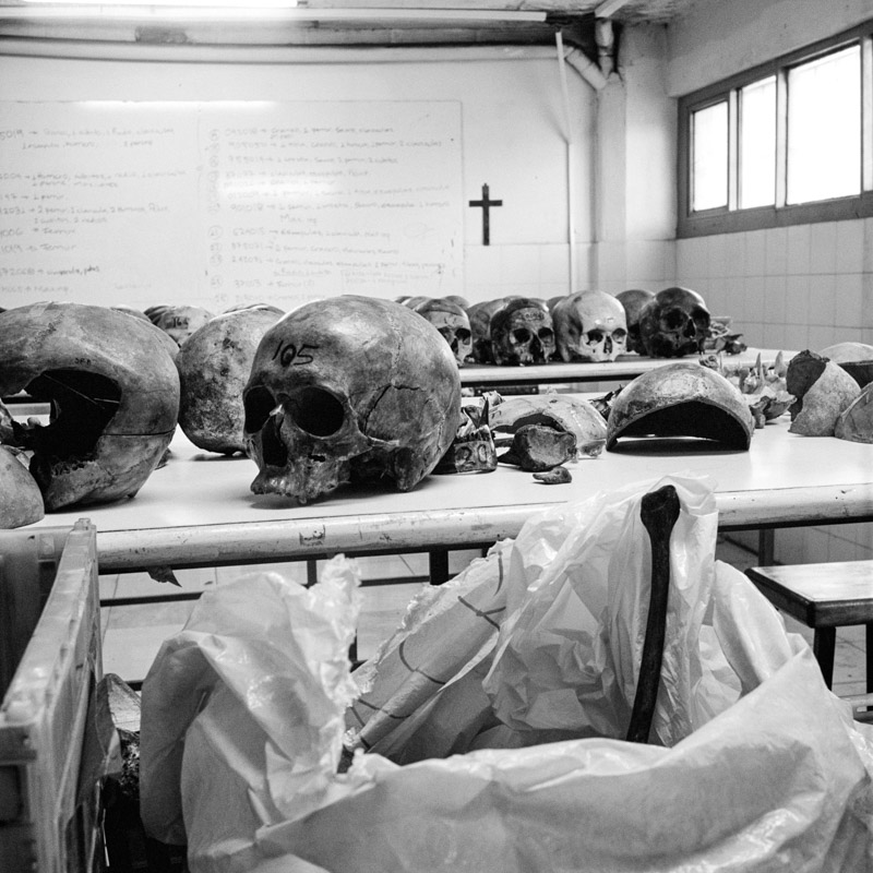 Skulls and bones of people killed by different 'actors of the conflict' (guerrilla, paramilitaries, police or even the Army) are kept in the lab of the ENAC (Escuela Nacional de Criminalística y Ciencias Forenses, National School of Criminalistic and Forensic Science) in Medellin. Medellin, January 2017.