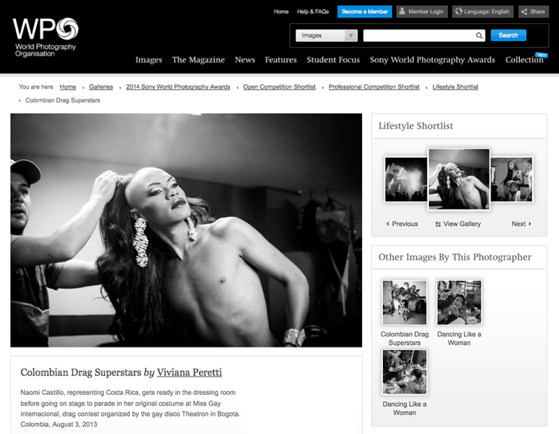 Colombian Drag Superstars shortlisted in the Lifestyle category at the 2014 SONY WORLD PHOTOGRAPHY AWARDS, London, UK.