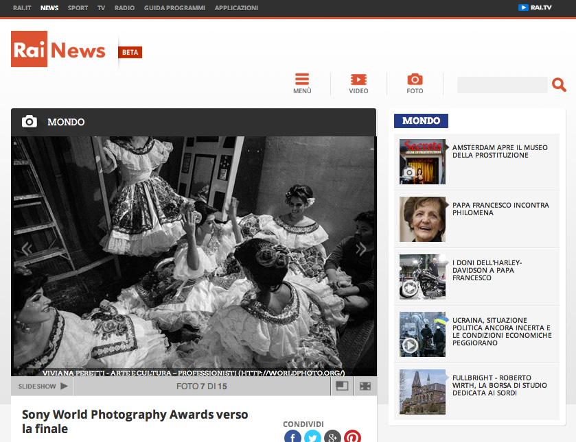 2014 SONY WORLD PHOTOGRAPHY AWARDS' Winners, RAI News, Italy.