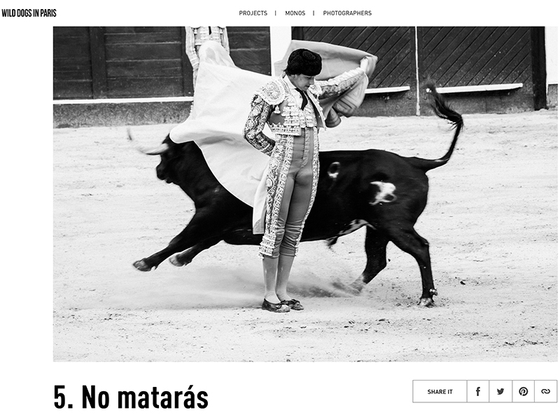 My series 5. No Matarás, about the return of bullfighting in Bogotá, featured in Wild Dog in Paris.
