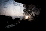 The Mediterranean seascape reflected on some sheets of paper hanging down in a camera obscura I have built at the Bogliasco Foundation in Italy. Bogliasco, Italy, April 2017.