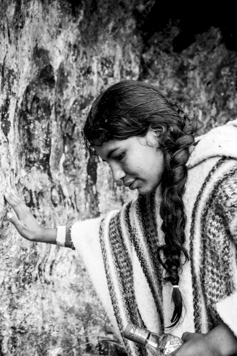 """Young woman from the Nasa indigenous community makes an offer in front of a sacred place in the Páramo de Pisnos as part of the cleansing ritual of the 'Khabu fxizehnxi' ('Refreshing of the Batons""""), one of the five main rituals of the Nasa indigenous people of the Cauca region in Colombia. Cauca region, Colombia, January 2019."""